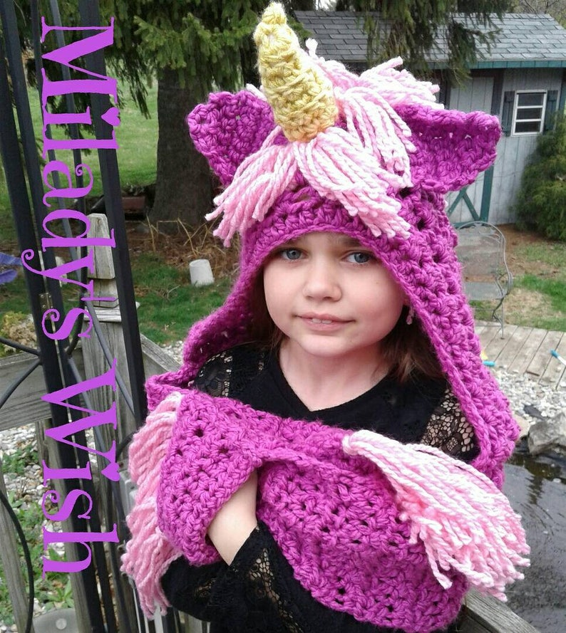 37b59563b Magical Unicorn Crochet Hooded Scarf