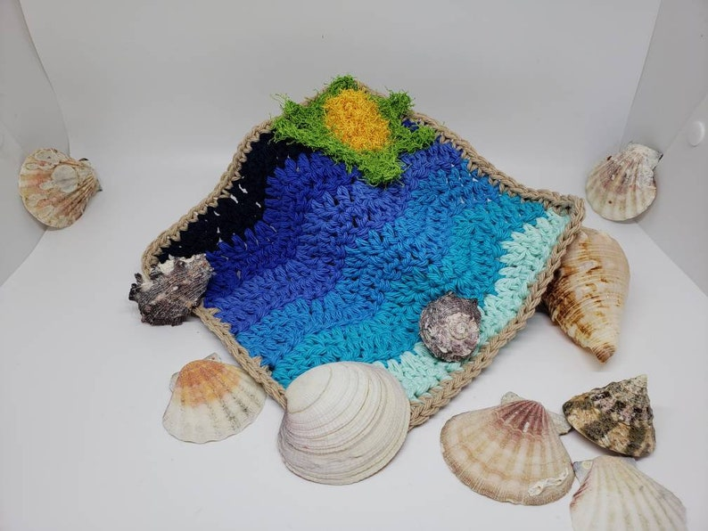 beach and ocean themed three crocheted wash or dish cloths crochet cotton A Day At The Beach Cleaning Trio