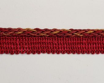 """Red and Gold Braid Lip Cord Trim, Trim By The Yard,  1/2"""" Braid Lip Cord, Pillow Trim, Curtain Trim, Valance Trim, Upholstery Trim SALE"""