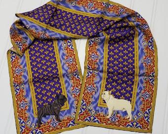 French Bulldog Silk Scarf, Silk Scarf, Dog Lover Gift, Custom Design Long Scarf