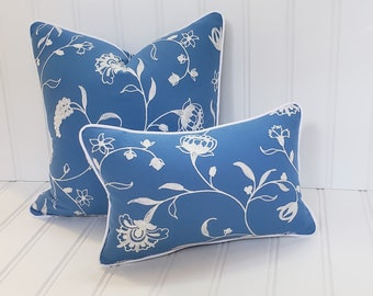 Blue and White Pillow, 20x20, 12x18, Decorative Pillow, Pillow Cover, French Country, Farmhouse Decor