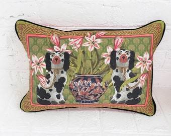 Staffordshire Dog, Decorative Pillow  Cover, Chinoiserie  Coral , Asian Decor,  Pillow Cover, 12x18 Lumbar Pillow, Custom Designed