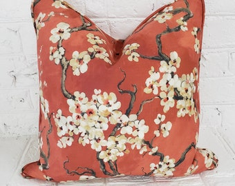 Orange Coral Pillow Cover, Asian Chinoiserie Pillow Cover, Cherry Blossom, Decorative Pillow, Throw Pillow, Fall Decor