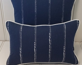 Blue and White Outdoor Pillow Cover, 18x18, 12x18, Navy and White Outdoor Pillow, Patio Pillow,