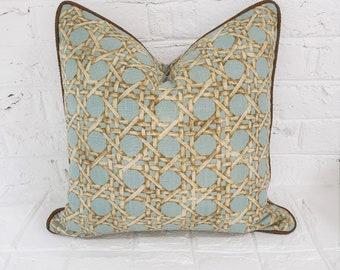 Blue Trellis Pillow, Blue Tan Cane, Pillow Cover, Blue Brown Geometric Decorative Pillow