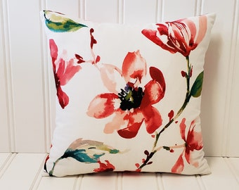 """Red White Floral Pillow Cover 18x18"""", Knife Edge, Decorative Pillow, Red Poppy, Modern Pillow"""