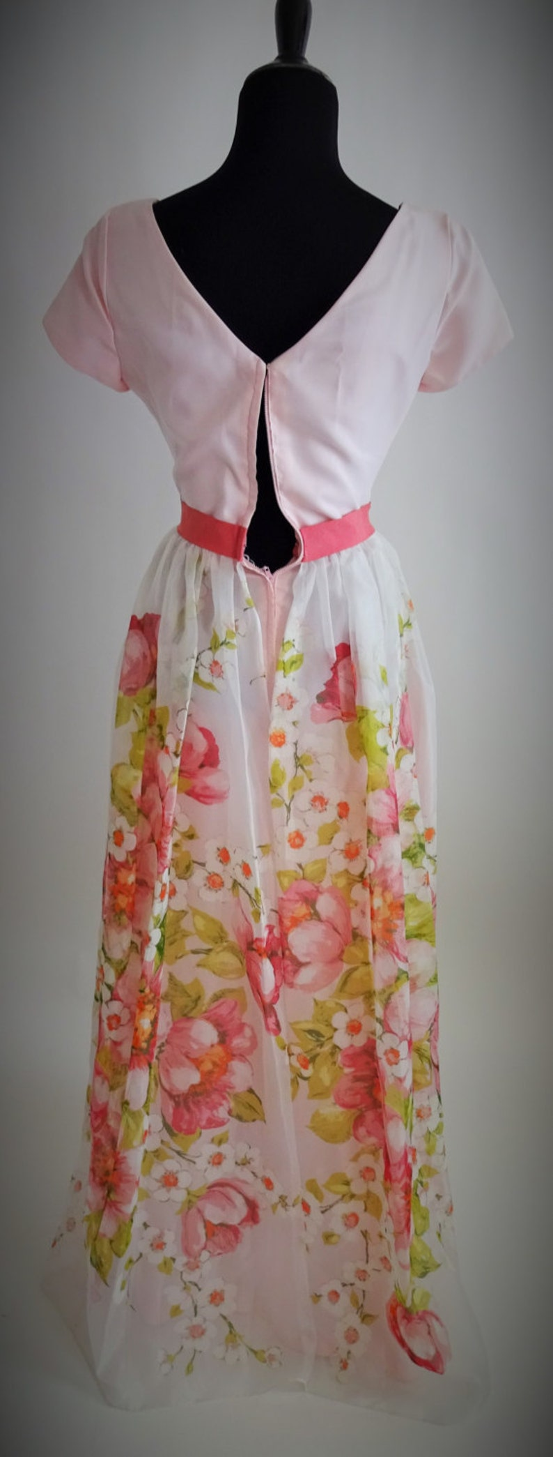 Gown #333 ~ To-Die-For 1960/'s Baby Pink /& Watercolor Floral Organza Empire Gown wGrosgrain Ribbon Waist Bow