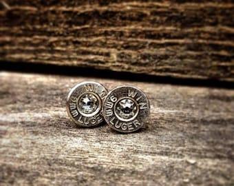 Southern Bullets. Bullet jewelry. Stud earrings. Sterling silver. Bullet earrings. Swarovski. Winchester. Guns. Country girl.Handmade.Bullet