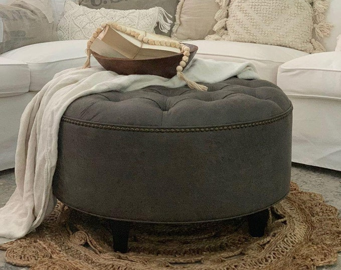 Granite Grey Distressed Vegan Leather Ottoman, Tufted, Upholstered, Round