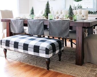 Farmhouse Buffalo Check Upholstered Ottoman- Design 59 inc