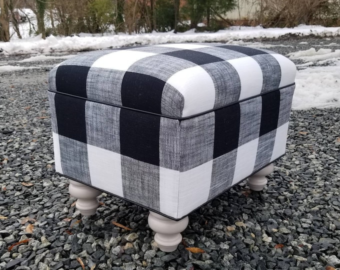 Farmhouse Buffalo Check Upholstered Ottoman- Design 59 inc