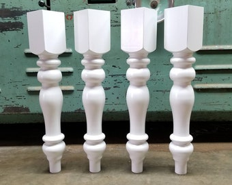 "Chunky Farmhouse Dining Table Legs- Component Parts- Primed White, 28.5"" by 4.5"""
