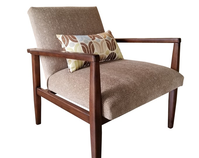 Mid Century Modern Accent Chair, Brown Geometric Chenille