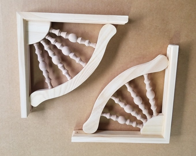 Unfinished Pine Farmhouse Style Shelving Brackets- PAIR of Corbels