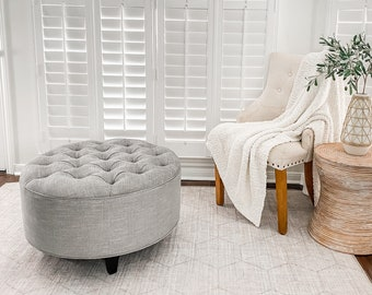 Grey Linen Upholstered Ottoman- Footstool, coffee table- Design 59 inc