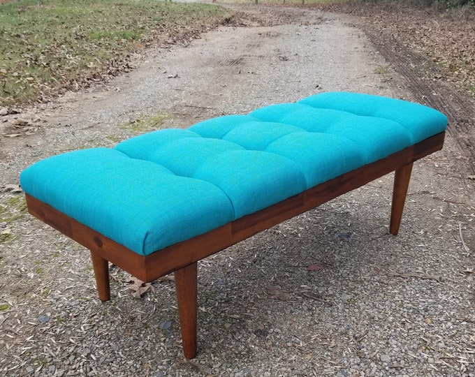 Channel Tufted Retro Teal Ottoman- Acacia Frame- Design 59 inc
