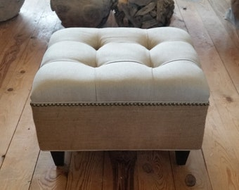 "18x24"" Tufted Linen and Burlap Ottoman"