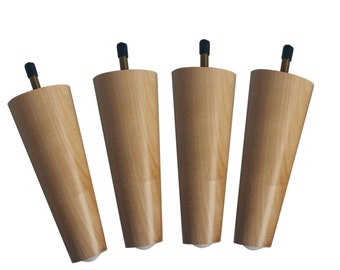 "Design 59 inc~ 6"" Mid-Century Modern Tapered Furniture Legs Natural Maple Wood w/ Clear Coat Finish"