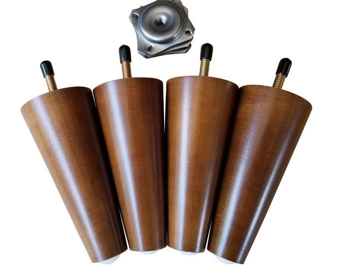 5 Inch Sofa Legs, Retro Walnut Finish, 8mm Conversion Hardware Included, Set of 4 Legs