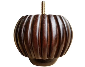 "4"" Pumpkin, Fluted Bun Foot, Traditional Legs, Plantation Brown Finish"
