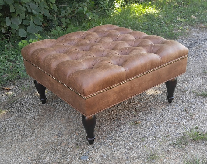 Distressed Vegan Leather Tufted Upholstered Ottoman- Footstool, coffee table- Design 59 inc