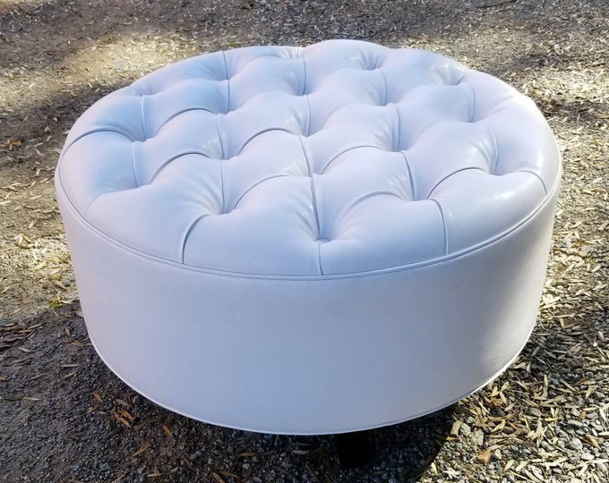 White Vegan Leather Tufted Upholstered Ottoman- Footstool, coffee table- Design 59 inc