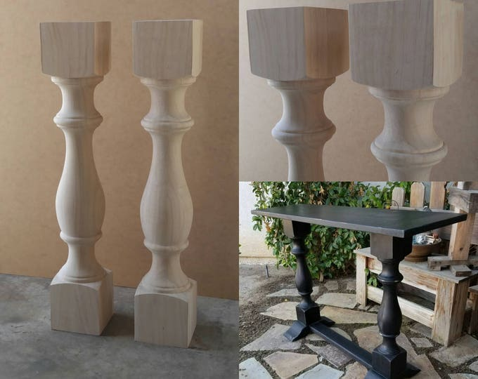 PAIR Unfinished Monastery Console Table Legs- Set of 2 Turned Posts
