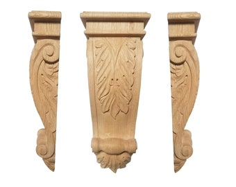 Corbels, Acanthus Leaf, Unfinished Wood Oak Hardwood (O88)