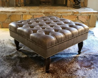 Granite Grey Distressed Vegan Leather Tufted Upholstered Ottoman- Footstool, coffee table- Design 59 inc