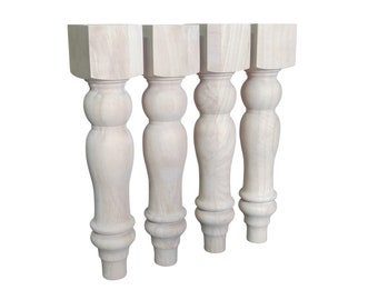 "16"" Unfinished Farmhouse Bench Legs or Coffee Table Legs- Set of 4"