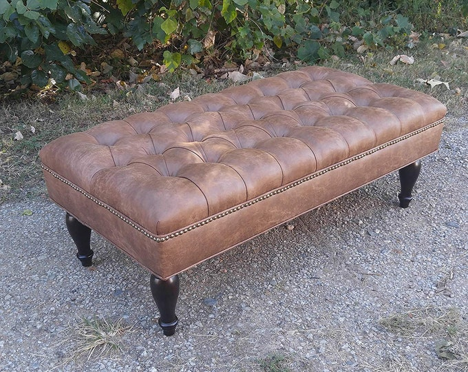 "Design 59 LARGE Vegan Leather Tufted Ottoman, Footstool, Upholstered Coffee Table, 46""x24"""
