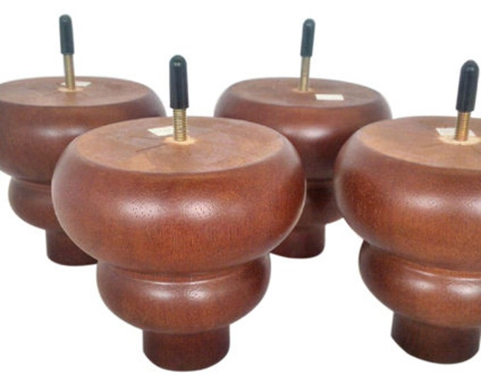 Turned Mahogany {Sofa, Couch, Chair,Ottoman, Legs} (Set of 4) 100% Wood!!! Free shipping