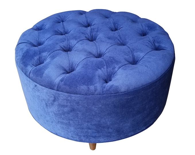 "30"" Upholstered, Tufted, Microfiber Ottoman, Royal Blue, Round"