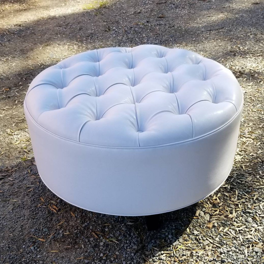 White Vegan Leather Tufted Upholstered Ottoman Footstool Coffee