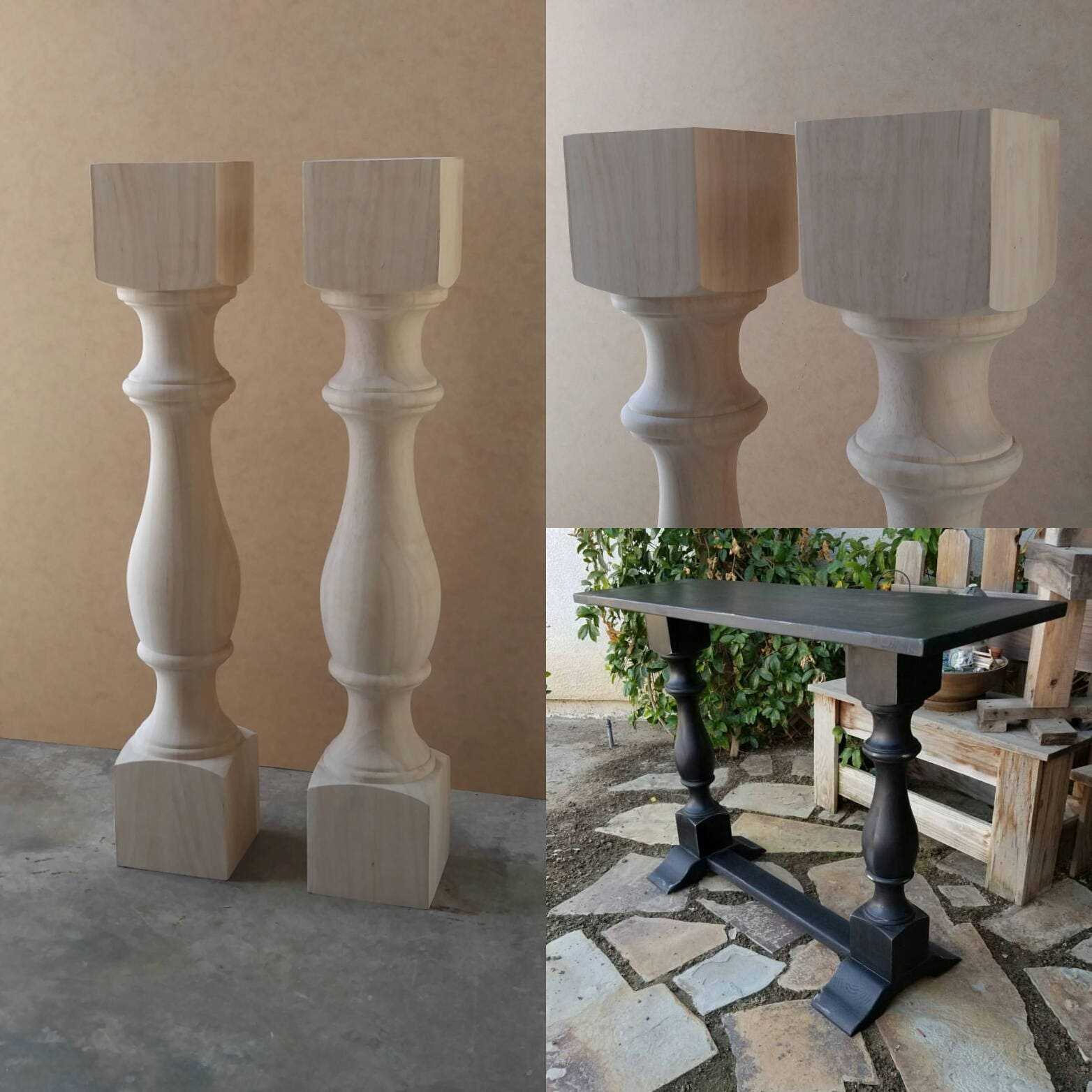 Pair unfinished monastery console table legs set of 2 turned posts watchthetrailerfo