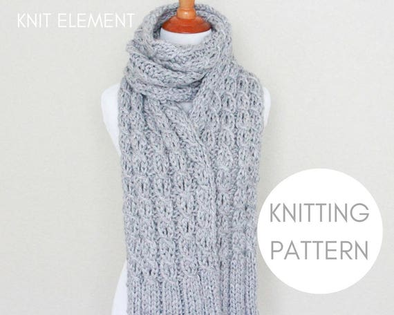 Knitting Pattern Cable Scarf Knitting Pattern Chunky Knit Etsy