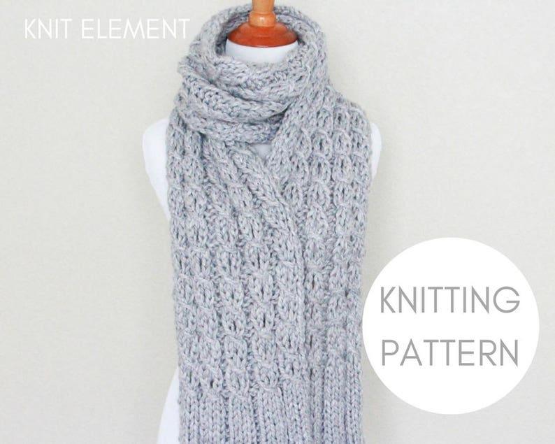 Knitting Pattern Cable Scarf Knitting Pattern Chunky Knit Etsy