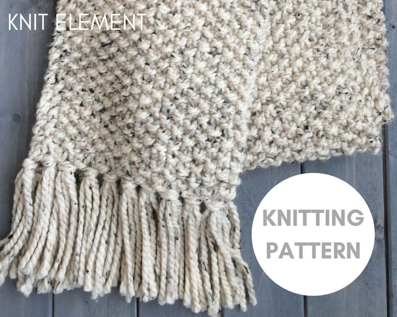 Knitting Pattern Beginner Knitting Pattern Chunky Knit Scarf Etsy