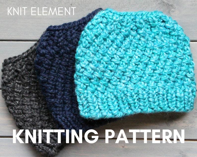 Knitting Pattern Messy Bun Hat Knit Pattern Knit Ponytail  9c8c656e159