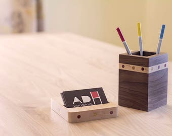 Wooden Business Card Holder for Desk with Matching Pencil Holder in Maple Wood