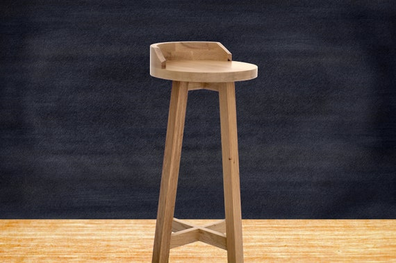 Wooden Bar Stool With Back Oak Bar Stool Wood Bar Stool Etsy