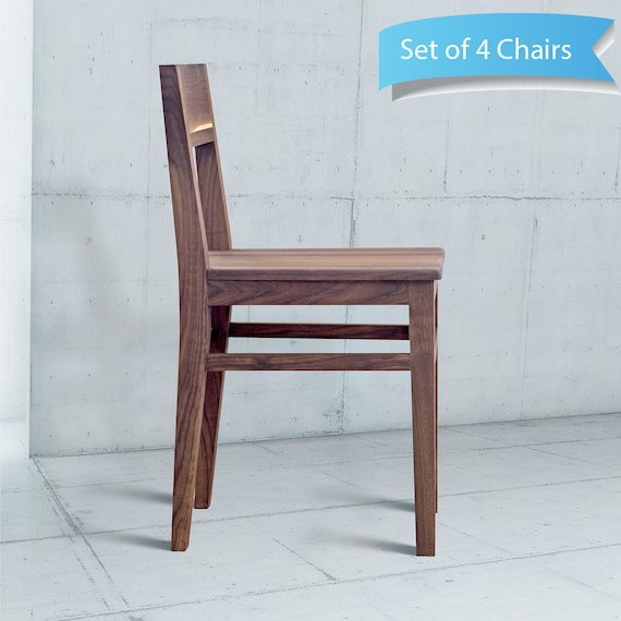 Walnut Dining Chair Set Of 4 6 8 Wood Dining Chair Open Etsy