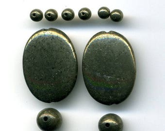 pyrite (407), smooth, 3 sizes of stones 10 beads