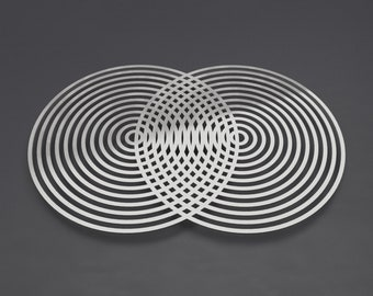 "Vesica Piscis Abstract Metal Wall Art, Sacred Geometry Wall Art, 3D Wall Sculpture, Large Metal Wall Art, Modern Wall Art, Silver, 36"" x 24"""
