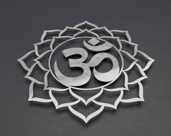 Om Sign Metal Wall Art Sculpture, Om Lotus Flower Mandala Metal Wall Art, Chakra Wall Decor, Yoga Wall Art, Silver Wall Art, Brushed Metal