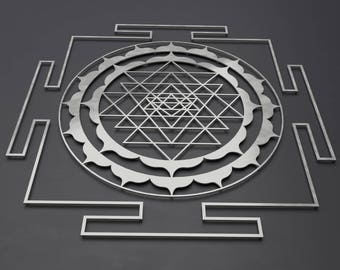Sri Yantra Lotus Mandala Metal Wall Art Sculpture with Separate Frame, Large Metal Wall Decor, Sacred Geometry, Sri Chakra, Yoga, Hindu