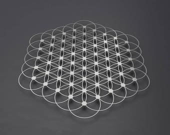 Flower of Life Metal Wall Art, Sacred Geometry, Metal Wall Decor, Large Metal Wall Art, Metal Wall Sculpture, Yoga Art, Mandala, Silver Art