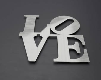 Love Park Sign, Metal Wall Art, Philadelphia Love Park, Word Art, Pop Art, Large Metal Wall Art, Metal Wall Sculpture, Silver Wall Decor