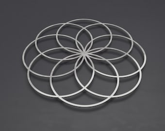 "Seed of Life Sacred Geometry Metal Wall Art, Sacred Geometry Decor, Modern Metal Wall Art, Silver Metal Wall Art, Loft Wall Art, 24"" or 30"""