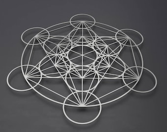 Encircled Metatron's Cube Large Metal Wall Art, Sacred Geometry Wall Art, Modern Wall Sculpture, Silver Metal Wall Art, Modern Home Decor